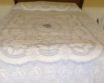 Vintage 1950s 50s Blue White Matelisse Bates Bedspread / Embroidered Irises / Farmhouse / Cottage