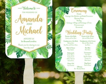 Wedding Program Fans Printable or Printed with FREE Shipping - Destination Beach Wedding - Palms Collection