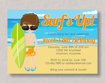 Surfer Birthday Invitation, Surfing Birthday Invitation, Surfer Birthday, Beach Party, Pool Party, Beach Birthday Party, Surfer Invitation