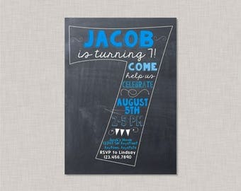 Seventh Birthday Invitation, 7th Birthday Invitation, Boy Birthday Invitation, 7th Birthday, 7th, Number 7, Seventh Birthday, Chalkboard