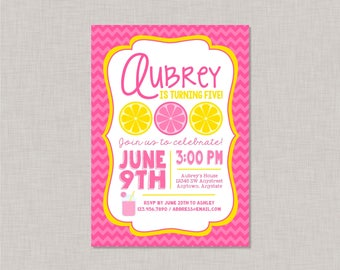 Pink Lemonade Birthday Invitation, Pink Lemonade Invitation, Lemonade Invitation, Lemonade Birthday Invitation, Lemonade Birthday Party