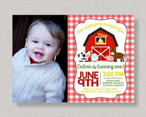 Farm Invitation Birthday Barnyard Party Bash Chalkboard 1st 2nd