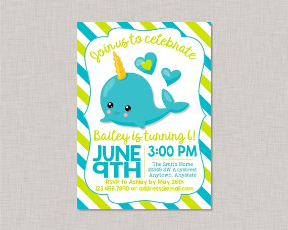 narwhal invitation narwhal birthday narwhal unicorn narwhal invite