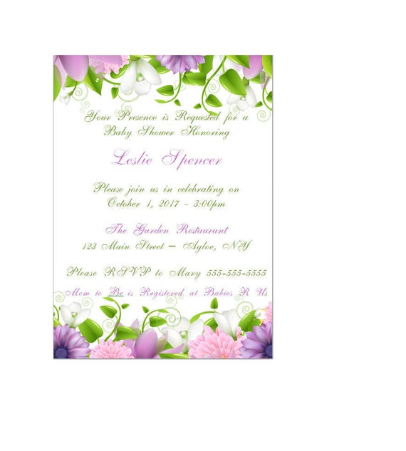 Enchanted Garden Baby Shower / Wedding Invitation - Enchanted Forest Invitation - Fairy Invitation - Flower Baby Shower Invitation