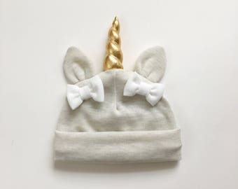 Baby unicorn hat Oatmeal