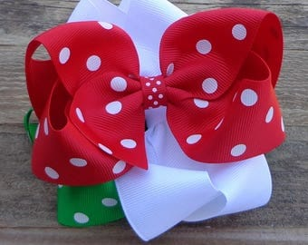 Set of 3 Boutique Bows~Christmas Boutique Bows~Red Polka Dot Bow~Green Polka Dot Bow~White Hair Bow~Medium/Large Boutique Bows~Christmas Bow