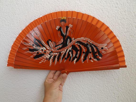 Orange Flamenco Dancer Design Spanish Hand Fan Limited Edition