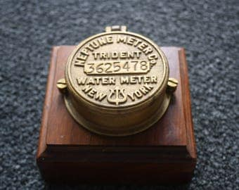 Old Brass Neptune New York Trident Water Meter Co TRIDENT Mounted on Wood Base ~ Nice Trinket Box