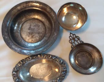 Lot of Antique Sterling Silver Dishes Bowls Gorham Scrap Silver Over 20 Ounces Troy