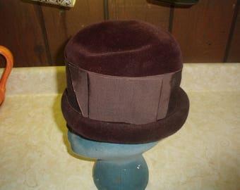 vintage ladies hat brown felt high top made italy corona