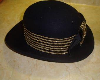 vintage ladies hat navy blue wool michael howard gold