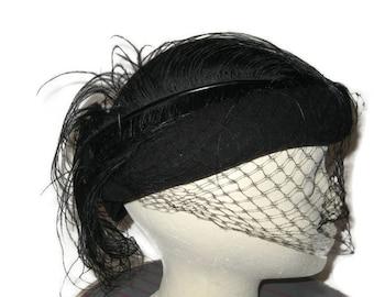 60s Black Hat, Black Felt Hat, Hat with Feather, 1960s Cocktail Hat, Ladies Formal Hat, Feathered Fascinator, Black Fascinator