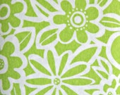 Lime Green White Happy Flower Fabric, Stretch Knit, Polyester Cotton Blend, Fabric by the Yard, Sewing Fabric