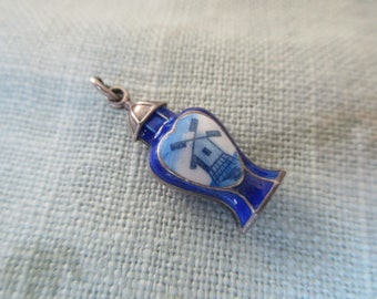 vintage sterling silver enameled charm with delft blue, windmill, Dutch, Netherlands, Holland, souvenir