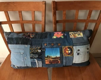 VW Bus- Upcycled Denim Pillow - Camping Pillow Cover