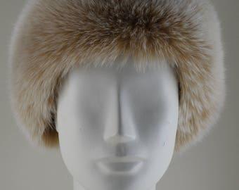 Real Blush Fox Fur Headband Snow Top new made in the USA