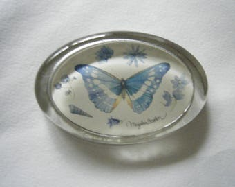 Glass Butterfly Paperweight// Insects Seashells Floral //Blue Office Accents