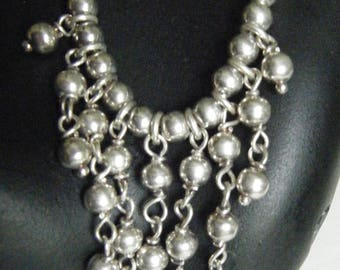 Sterling Silver Bib Necklace// Italian Jewelry / Precious Metals
