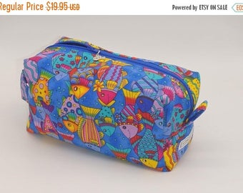 Christmasinjuly CIJ Sale Rainbow Fish Bag, Fish Travel Bag, Zip Pouch, Ditty Bag, Toiletry Kit, Pencil Case, Toy Bag, Shave Kit, Coastal Cas