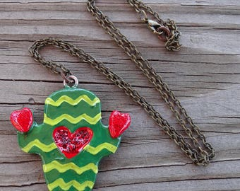 Cactus Necklace or hanging ornament on lovely chain