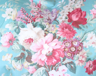 Vintage 40s Pink Cabbage Roses Floral Aqua Fabric Bed Spread Coverlet