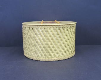 Vintage Princess Yellow Floral Wicker Hatbox Sewing Basket (E2845)