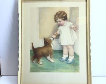 Bessie Pease Gutman Print The Reward. Nursery Decor. Kids Room. Child Dog