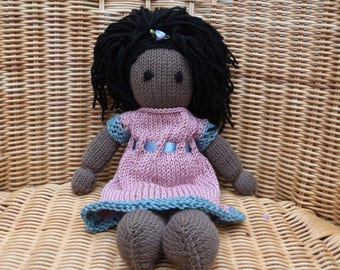 """12"""" African Doll Handmade Black Doll Hand knitted Doll in Soft Merino 100% wool Doll with Pretty Knitted Cotton Removable Dress"""