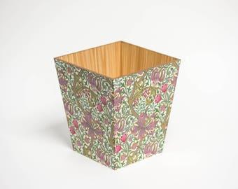 William Morris Style Waste Paper Bin Trash Can Handmade Wooden handmade in UK Green