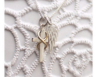 Infinity Cross Angel Necklace - Memorial Gift - Angel - Sympathy Gift - Infinity - Religious Gift - Gift for Loss