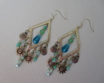 Bohemian beach aqua chandelier earrings, silver beach chandelier earrings with teal glass, lime green glass, shell and sun