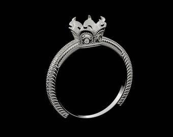 Semi mount gold vintage engagement ring with diamonds  SKU David
