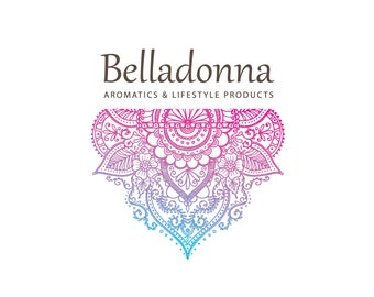 Botanical Logo, pre-designed, customizable one of a kind, modern Pink/Blue