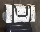Duffle Bag for Women , Weekender Travel Bag , Carry On Tote , Gym Bag  , Black Creme , Graduation Gift , RFID Pocket Trolley Sleeve
