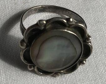 Sterling Silver Abalone Ring-Size 7 1/2