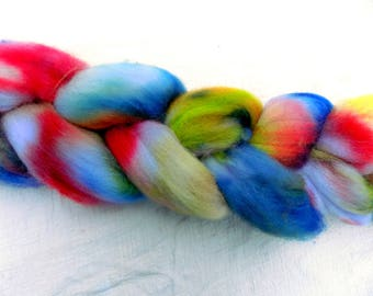 Hand dyed Organic Polwarth combed top. 4 ounces