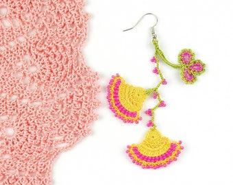 Crochet Earrings- Handmade Yellow Pink Crochet Floral Dangle Earrings, Ethnic Earrings, Oya Earrings, Beaded Earrings, Bohemian Jewelry