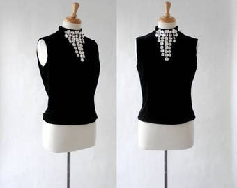 ON SALE Black Velvet Top From The 80s In The 60s Style