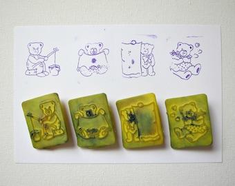 DESTASH- 5pc TEDDY BEAR Stamp Mix, Pre-used
