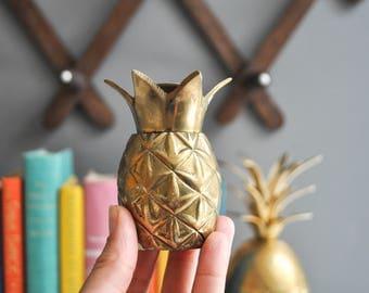 Vintage Petite Brass Pineapple Candle Holder