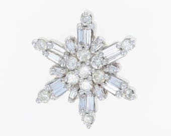 Diamond Snowflake Pendant - 14k White Gold Round Brilliant & Baguette 1.36ctw U0792