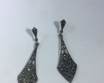 Vinage Real Marcasite 925 Sterling Silver Deco Dangle Earrings