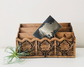 Vintage Floral Faux Carved Wood Lerner Mail Sorter Faux Bois 70s Letter Holder Desk Organizer
