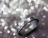 Black Oxidised Hammered Silver Ring Wedding Ring Weddings Jewelry Commitment Ring Wedding Band