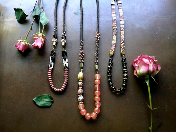 Long necklace - Boho necklace - Rose pink