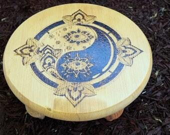 Wood burned Yin Yang Miniature Altar