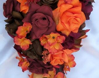 "17 Pieces Package Silk Flower Wedding Decoration Bridal Bouquet Fall Orange Cascade Teardrop ""Lily Of Angeles"" ORBR02"