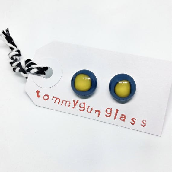 Glass Stud Earrings, Blue and Yellow