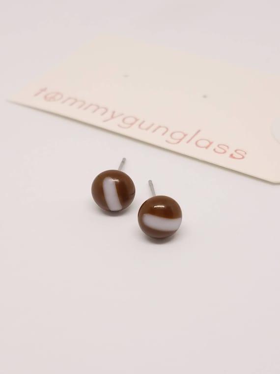 Tiny Brown Glass Stud Earrings