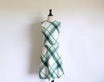 1/2 Off SALE Vintage Green Dress, 60s Mod Plaid Dress, Sleeveless Dress, Sassy Sixties